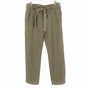 Free People Cargo Pants Green Linen Button Fly 4